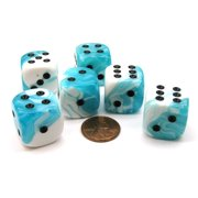 Chessex Gemini 20mm Big D6 Dice, 6 Pieces - Teal-White with Black Pips #DG2044