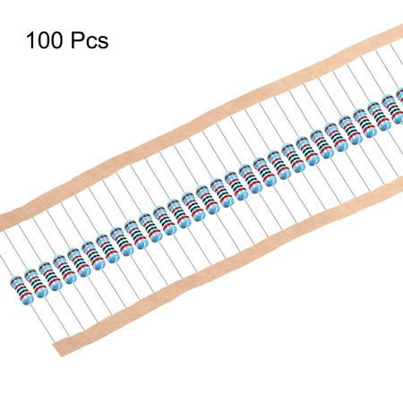 Résistance film métallique 100pc 20K Ohm 0.5W 1/2W Tolérance 5Bande couleur - image 3 de 4