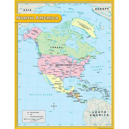 NORTH AMERICA MAP CHART 17X22