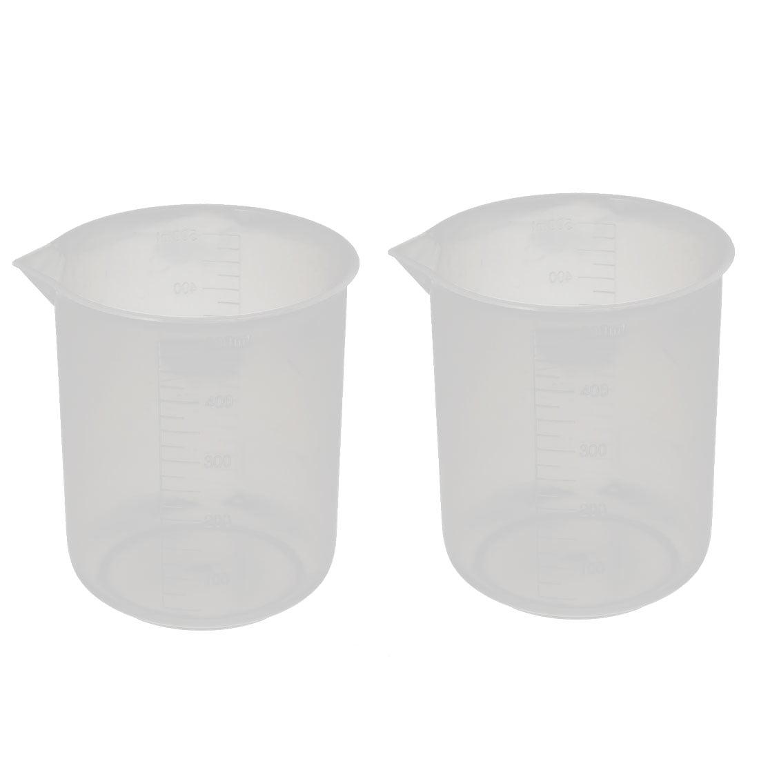 2 Pcs 500mL Laboratory Transparent Plastic Liquid Container Measuring Cup Beaker by