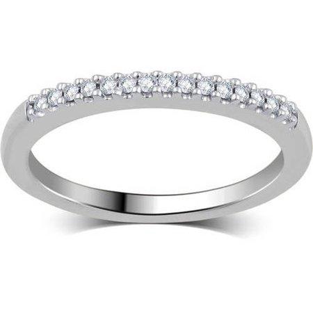 1/10 Carat T.W. Round Diamond 10kt White Gold Wedding Band, I-J/I2-I3 (Navy Gold Wedding)