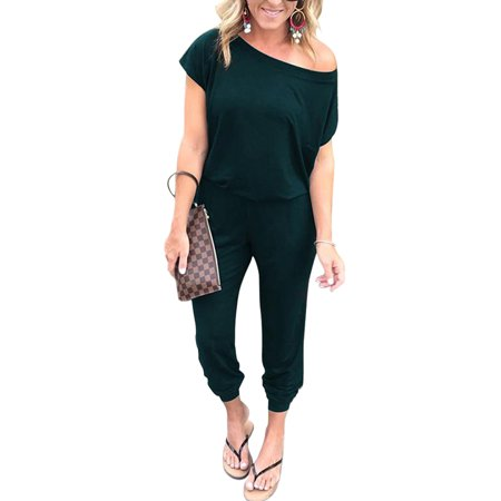 Women Slash Shoulder Solid Jumpsuit Wrap Short Sleeve Office Casual Loose Baggt Long Pants Romper Overalls ()
