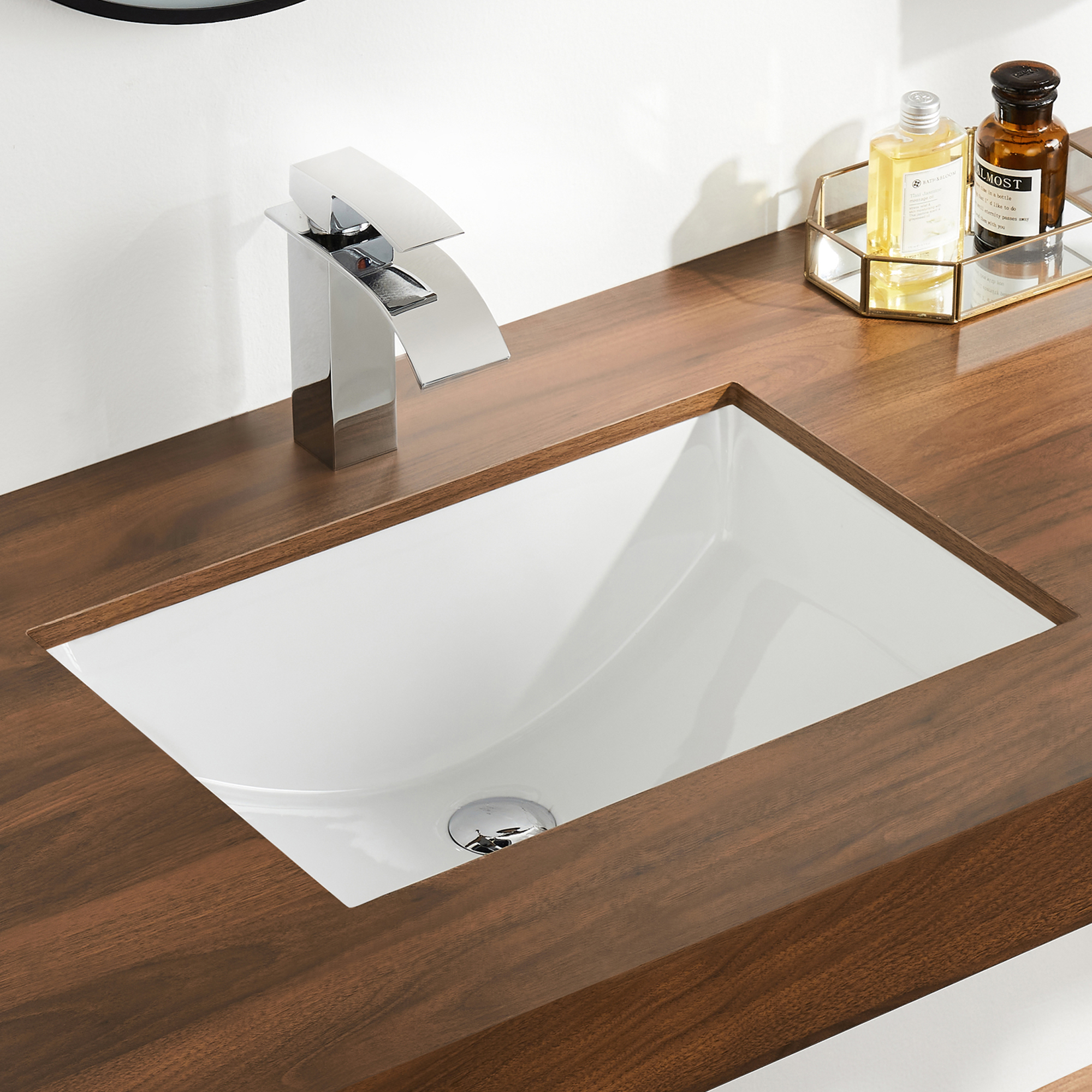 Deervalley Dv 1u101 Glazed Ceramic Rectangular Undermount Bathroom Sink With Overflow Walmart Com Walmart Com