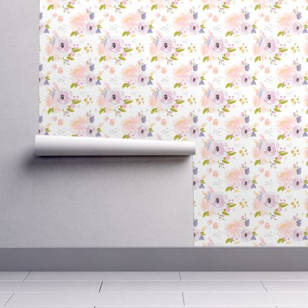 Peel-and-Stick Removable Wallpaper Purple Watercolor Florals Baby Girl Indy](Halloween Pin Up Girl Wallpaper)