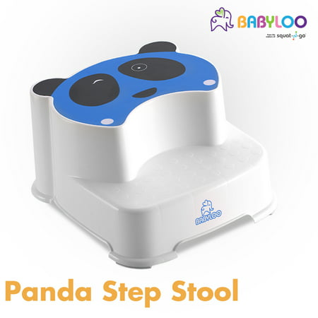 Babyloo Winking Panda Dual Height Step Stool | Bathroom Toilet Potty Training |Two Level Step Stool | Anti-Slip For Kids (Blue)