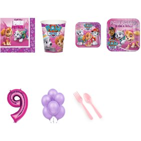 PAW PATROL PARTY SUPPLIES PACK WITH PINK 9 BALLOON