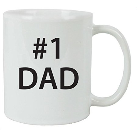 #1 Dad 11 oz White Ceramic Coffee Mug with Gift Box - Great Gift for Father's Day, Birthday, or Christmas Gift for Dad, Grandpa, Grandfather, Papa, Husband ()