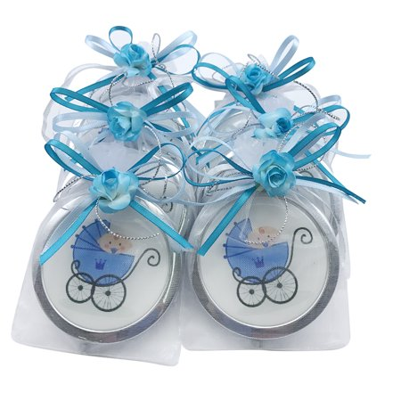 Baby Boy Shower Blue Compact Mirror Favor / Makeup Stroller mirrors with Organza Favor bags12pcs/pack