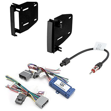 Bezel Dash Trim (Car Radio Stereo CD Player Dash Install Mounting Trim Bezel Panel Kit + Harness for Select Chrysler Dodge Jeep Mitsubishi Volkswagen Vehicles)