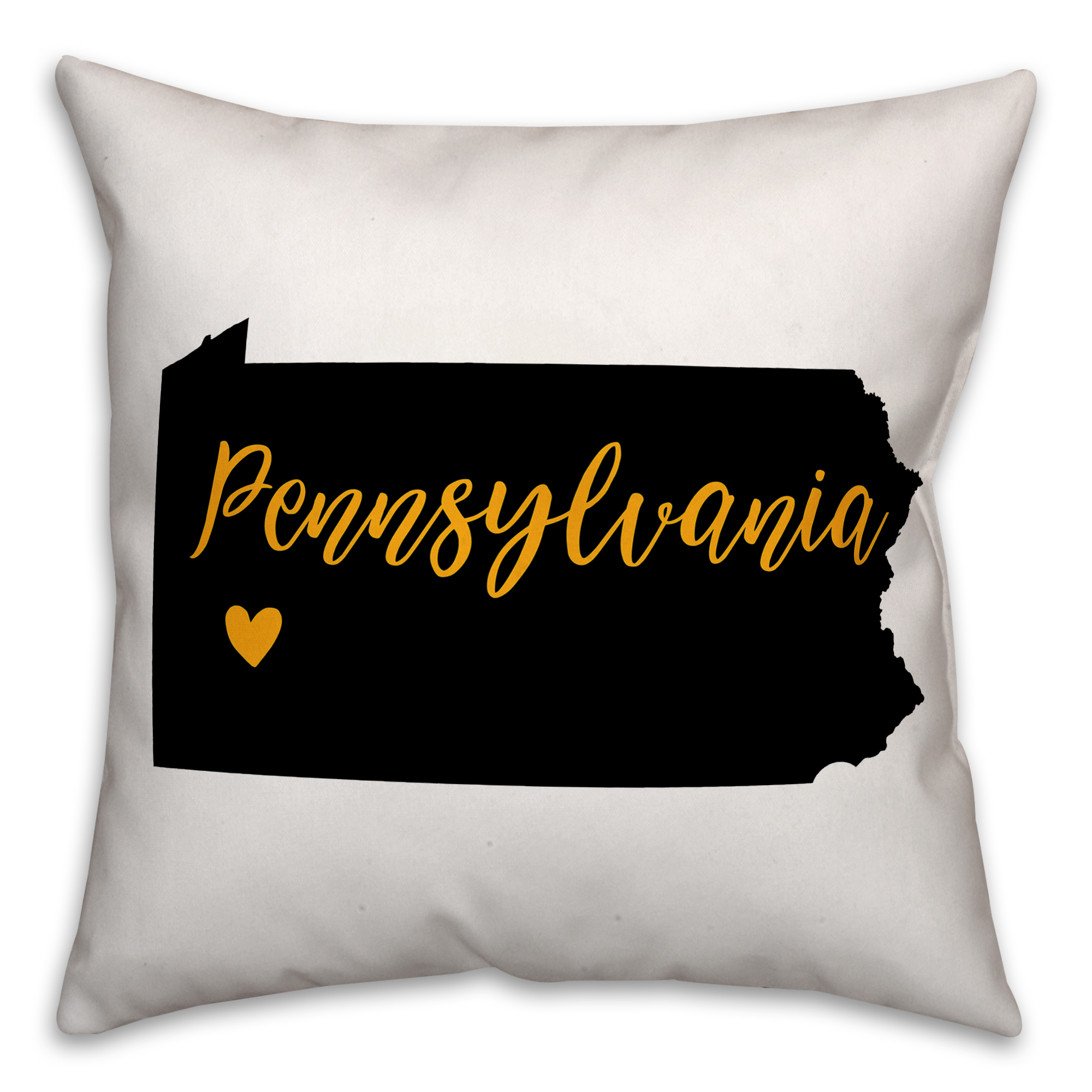 Black and Yellow Pennsylvania Pride 16x16 Spun Poly Pillow