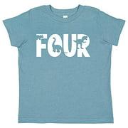 7 ate 9 Apparel 4th Birthday Shirt for Boys Dinosaur 4 Year Old Boy Birthday Boy Dino Four T-Shirt Kids Gift Light Blue XL
