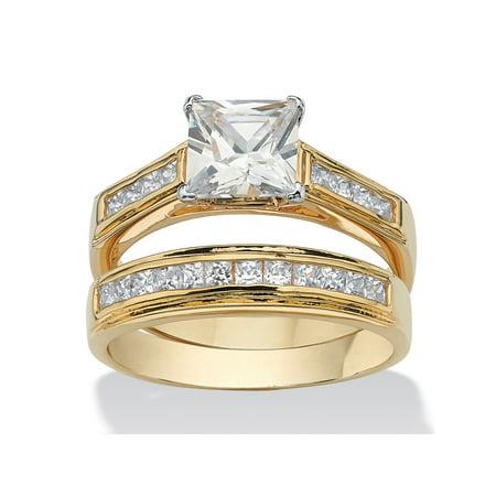 Bridal Designer Band (2.92 TCW Princess-Cut Cubic Zirconia 14k Yellow Gold-Plated Bridal Engagement Ring Wedding Band Set )