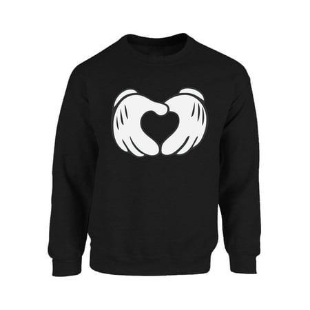 Mezee Cartoon Hands Sweatshirt Valentine's Day Sweater Unisex Cute Heart Shaped Sweatshirt Valentine Sweater for Women Men's Valentine's Day Outfit Cute Valentine Gifts Cute His and Hers Sweaters](His And Hers Outfits)