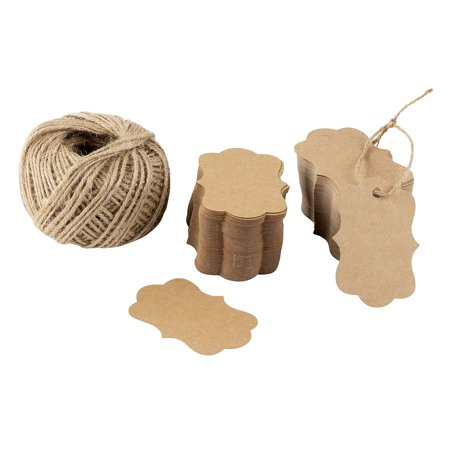 200 Pack Kraft Paper Rectangle Tags with 200 Feet Jute Rope, 2.75 x 1.97 inch Blank Gift Tag with String Twine for Wedding, Birthday, Bridal Shower, Baby Shower, Party Favors, Special Events Dog Gift Tags