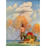 Robinson Crusoe 1920 For a mile my raft went well Poster Print by  Newell C. Wyeth (18 x 24)