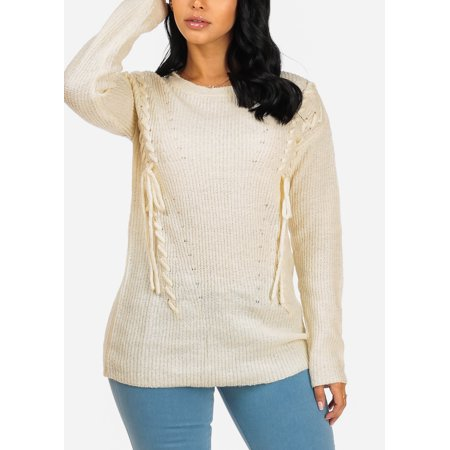 Womens Juniors Cozy Long Sleeve Front Sides Lace Up Round Neckline Knitted Ivory Tunic Sweater 41350P