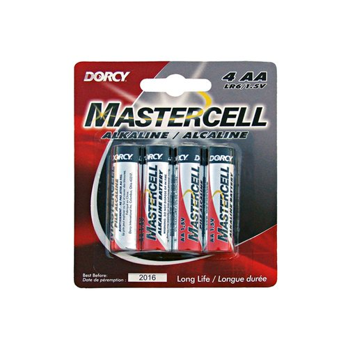 Dorcy 41-1634 Mastercell Long-Lasting AA-Cell Alkaline Manganese Battery, 4-Pack
