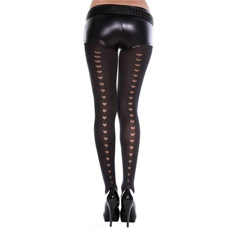 Music Legs 7124-BLACK Heart Backseam Spandex Pantyhose with Front Sheer Panel, -