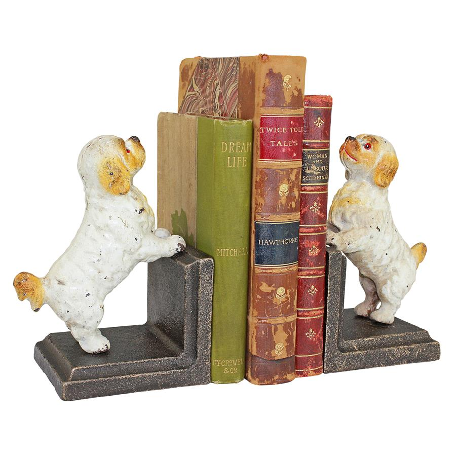 Cavalier King Charles Spaniel Dog Cast Iron Sculptural Bookend Pair by Design Toscano