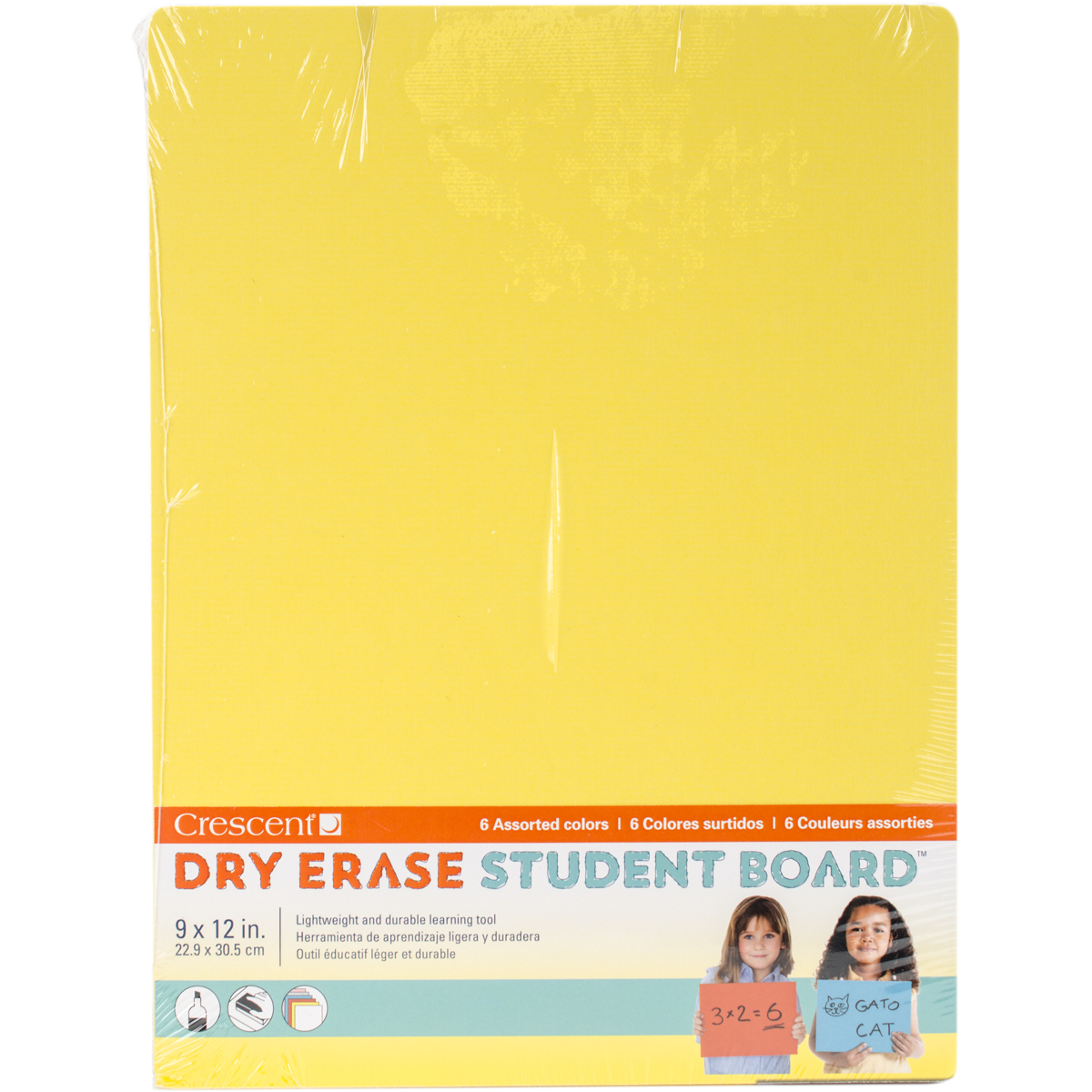 "Student Dry-Erase Boards 9""X12"" 6/Pkg-Assorted Colors"