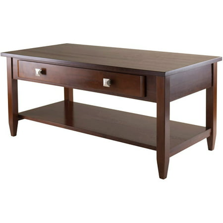 Round Walnut Activity Table - Winsome Wood Richmond Coffee Table with Drawer, Walnut Finish