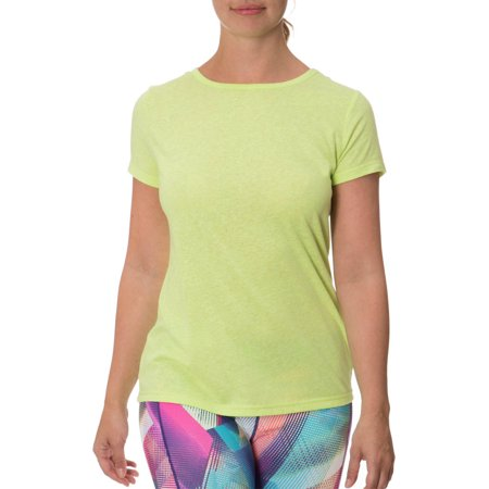 Impact by Jillian Michaels Women's Active Slub T-Shirt with Open Elastic Band Bar Back Open Back Short
