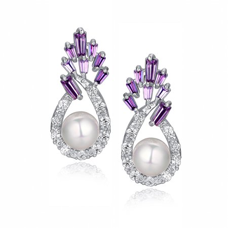 Shell Pearl W. Purple Baguette and Clear Round Cubic Zirconia  Earrings for Women Girls White Gold - Pearl Earrings For Girls