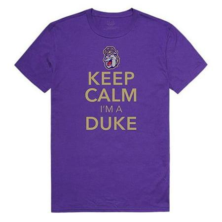 W Republic Apparel 523-188-328-04 James Madison University Keep Calm T-Shirt for Men - Purple, Extra Large James Madison University Lithograph