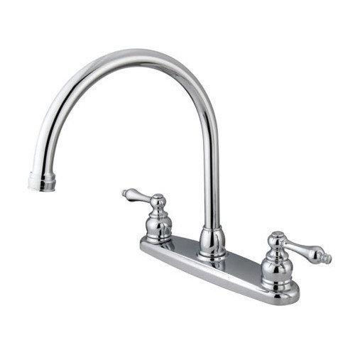 Elements of Design Victorian Double Handle Centerset Goose Neck Kitchen Faucet with Metal Handles