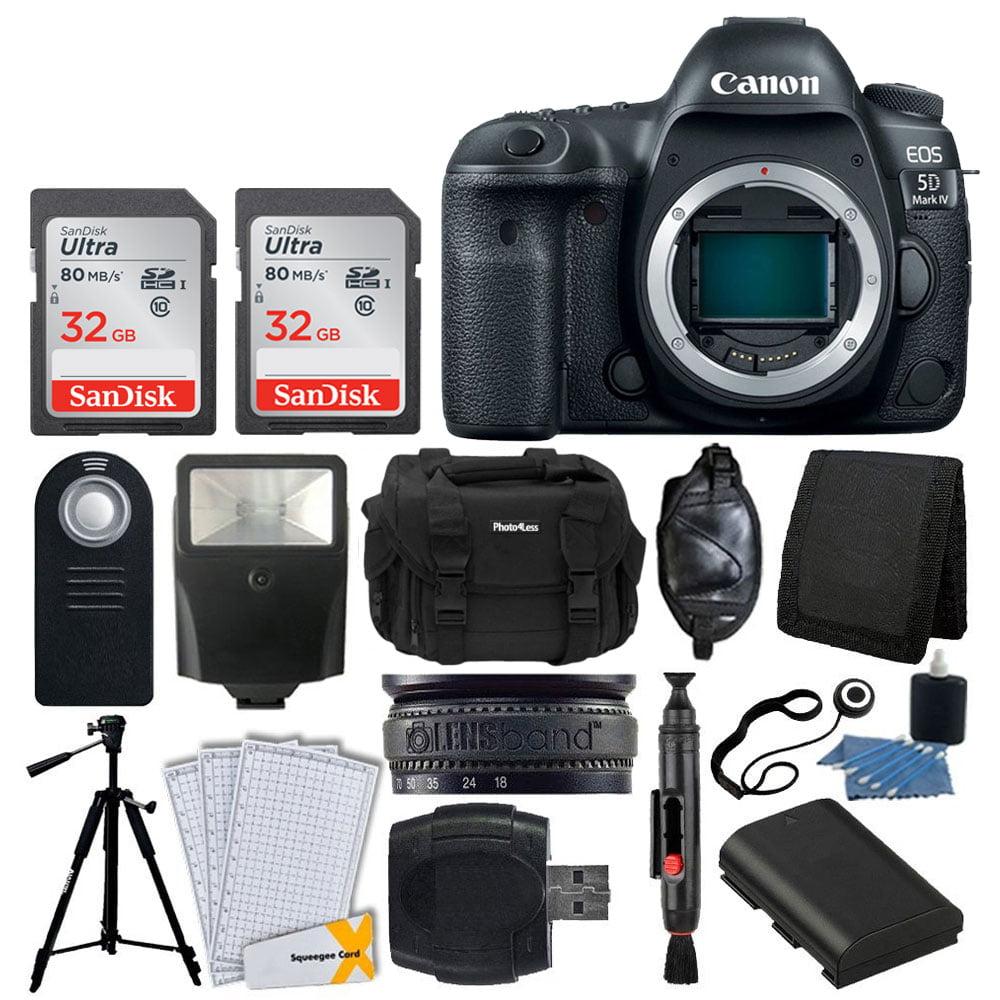 Canon EOS 5D Mark IV DSLR Camera Body + SanDisk 64GB Memory Card + Extra Battery + Wireless Remote + Large Gadget Bag + Slave Flash + Heavy Duty Tripod + Hand Grip + Lens Band + Card Reader + Bundle