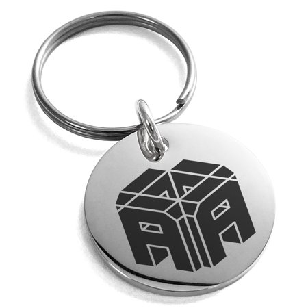 Stainless Steel Letter A Initial 3D Cube Box Monogram Engraved Small Medallion Circle Charm Keychain Keyring