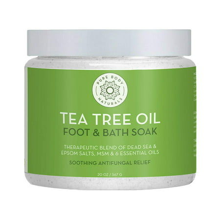 Tea Tree Oil Foot Soak, 100% Natural with Epsom and Dead Sea Salts, Foot Fungus, Athletes Foot, and Toenail Anti Fungal Treatment, Tired Feet Relief - by Pure Body Naturals - 20 (Best Foot Soak For Nail Fungus)