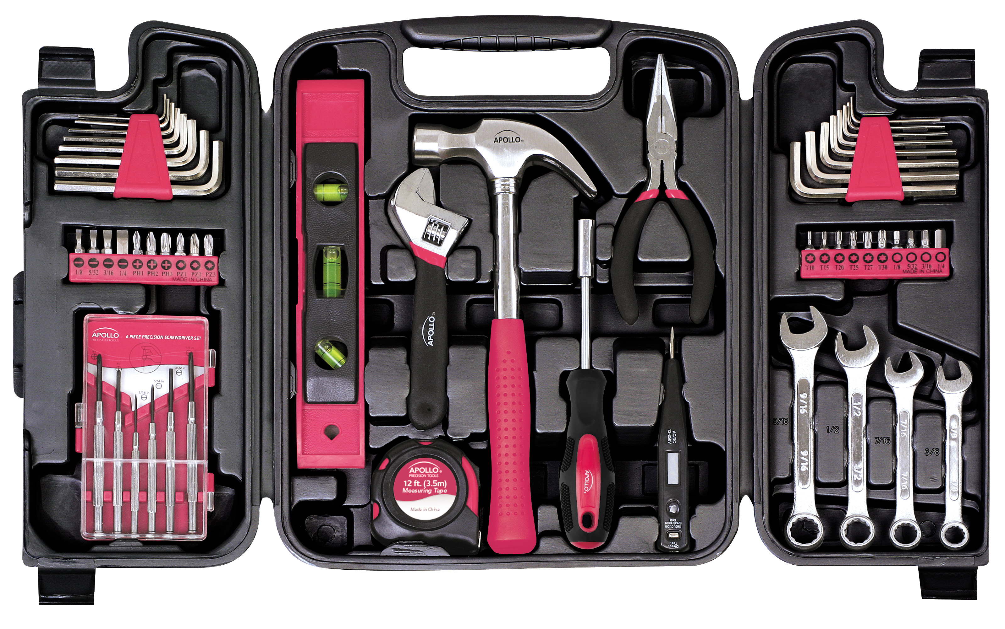 Apollo Tools DT9408P 53 Piece Household Tool Kit pink