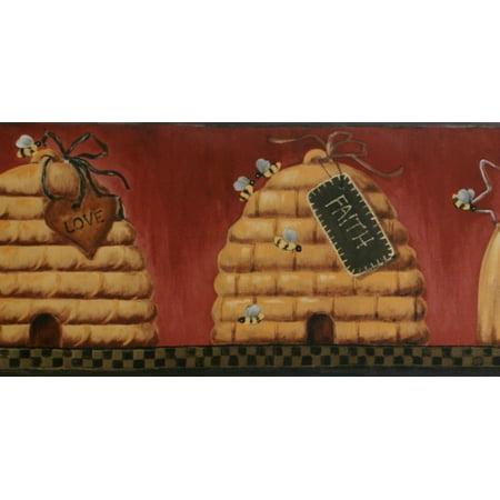 Plaid Wallpaper Border - St. James / York PV5225B Honey Bees Wallpaper Border, Black Plaid
