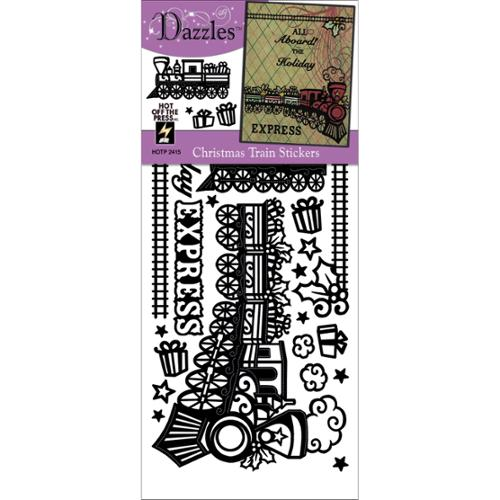 Dazzles Stickers-Christmas Train Black
