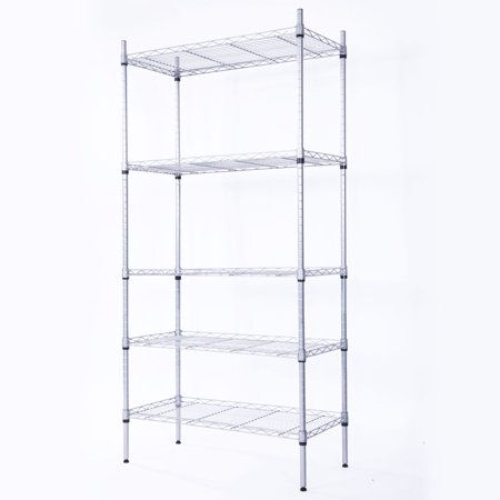 Zimtown 5 Tier Layer Garage Wire Steel Rack Shelving Steel Home HeavyDuty Storage Shelf