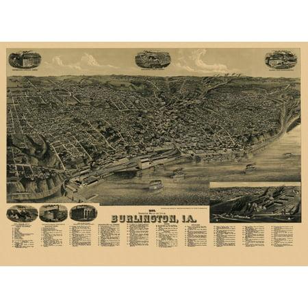 Old Map Of Burlington Iowa 1889 Des Moines County Poster Print