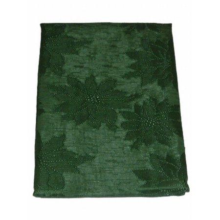 Seasons Elegant Dark Green Poinsettia Damask Tablecloth