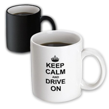Horse Racing Mug (3dRose Keep Calm and Drive on - carry on driving - gift for taxi bus race car pro drivers - fun funny humor, Magic Transforming Mug, 11oz )
