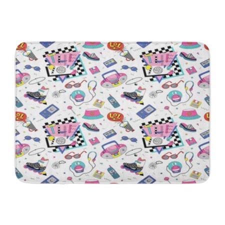 Roller Cassette (KDAGR Retro Patch Badges Roller Skates Cassette Players Sun Glasses Doormat Floor Rug Bath Mat 30x18 inch )