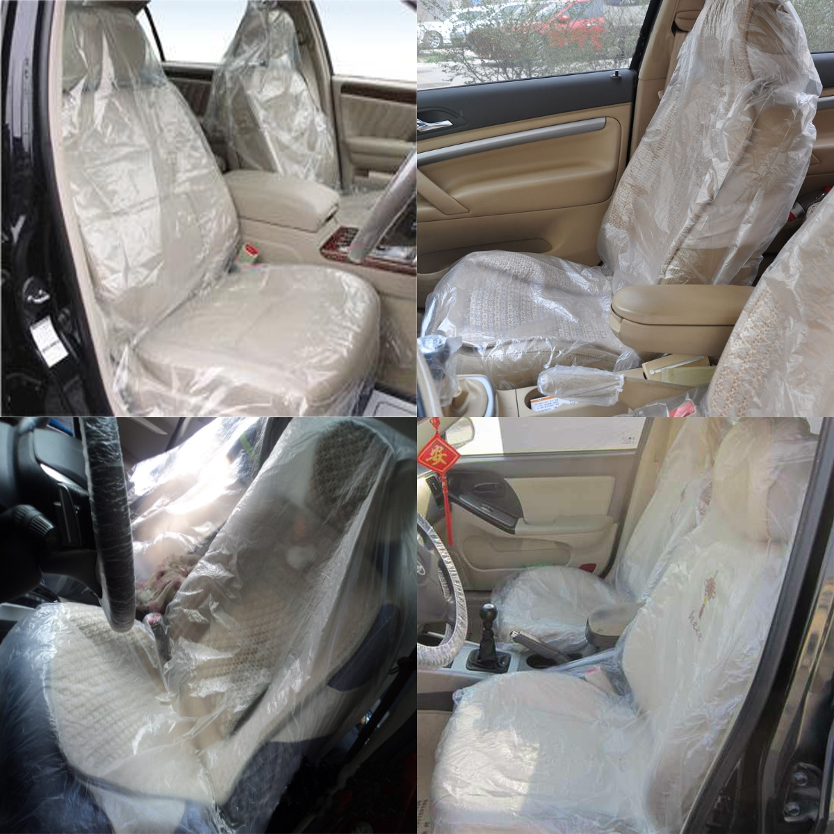 ytrew 100x Car Disposable Plastic Soft Seat Cover Waterproof