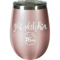 Philadelphia 76ers 12oz. Rose Gold Wine Tumbler