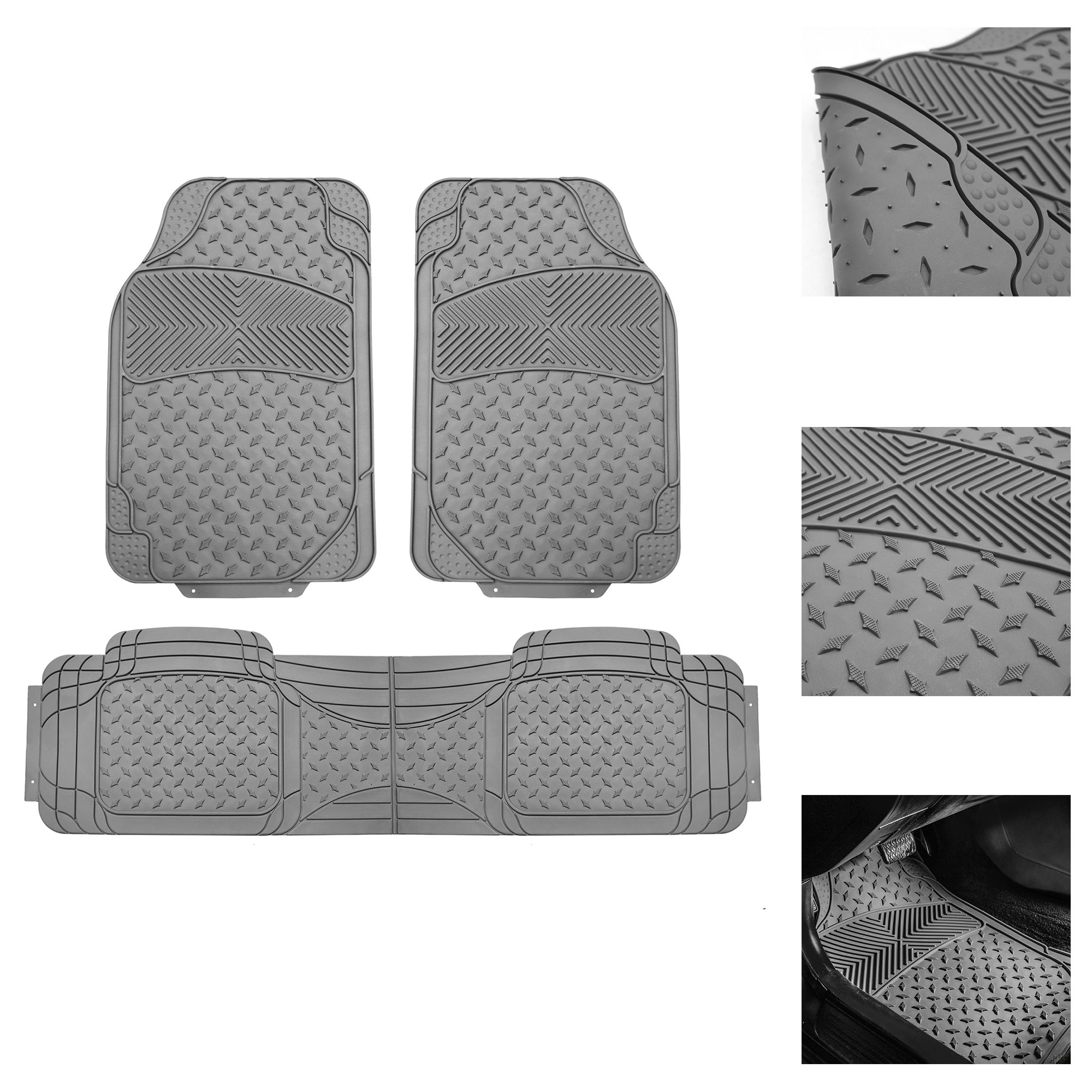 FH Group Semi Custom Trimmable Heavy Duty Floor Mats for Auto with Free Gift, 3 Colors