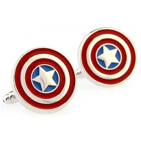 Captain America Formal Wear with Gift Box Cufflinks Cuff Links, Size (Approx.) 0.60*0.7 inches By DealFashion ()