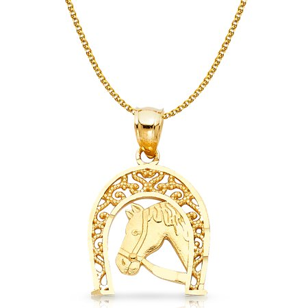 14K Two Tone Gold Lucky Horseshoe Charm Pendant with 1.7mm Flat Open Wheat Chain Necklace (Two Tone Horseshoes Charm)