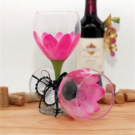 Judi Painted it DA-PP Daisy Painted Wine Glass, Parisian Pink