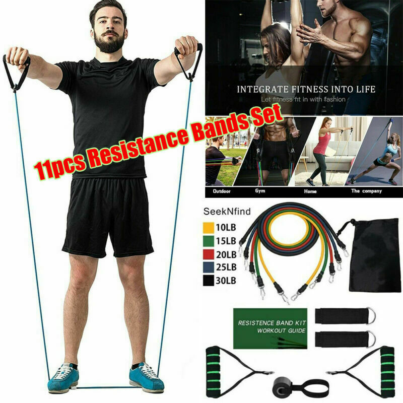 Details about  /11PC 10lbs-30lbs Resistance Band Set Strength Training Fitness Tube Workout Band