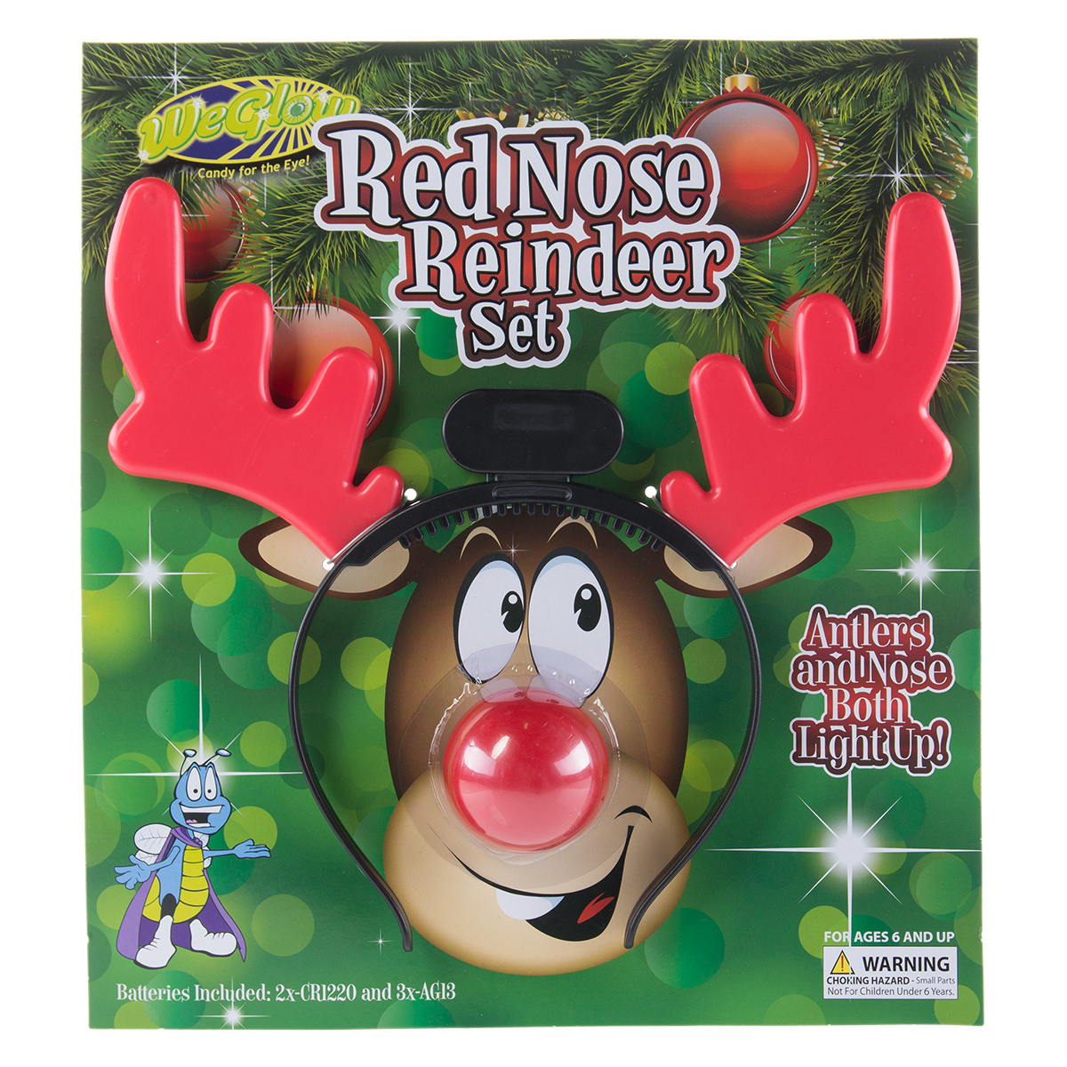 Light-Up Nose 2 Pieces Rudolph Accessory Kit for Christmas Antlers Headband