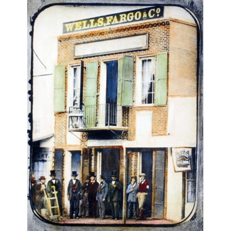 San Francisco 1852 Nwells Fargo Bank In San Francisco California Oil Over A Daguerreotype 1852 Rolled Canvas Art     18 X 24