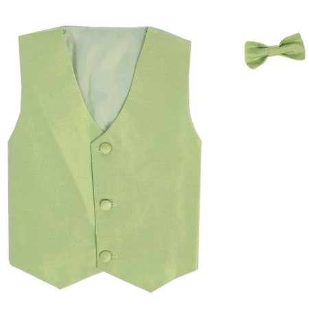 Little Boys Apple Green Poly Silk Vest Bowtie Special Occasion Set 4T